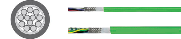 TOPGEBER 502, PUR, low capacitance (ca. 70 nF/km), high flexible drag chain feedback cable, halogen-free, EMI preferred type, RoHS Approved, RoHS Compliant, European  , Hi-Tech Controls