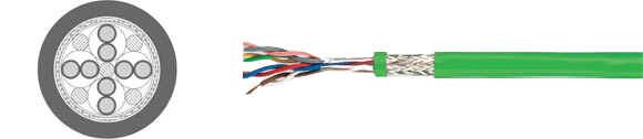 TOPGEBER 503, PUR jacket, low capacitance (approx. 70 nF/km), high flexible drag chain feedback cable, halogen-free, UL/CSA , RoHS Approved, RoHS Compliant, European  , Hi-Tech Controls