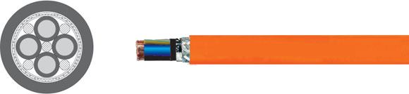 MOTORFLEX-X EMV 1/1 Halogen Free, triple shielded, low capacitance, UL/CSA approved, 80° C, 600 V, PUR jacket, flexible two-approvals motor power supply cable for frequency converters