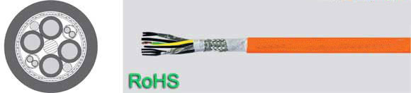 TOPSERV 121, Highly Flexible, Two Approvals UL/CSA, VDE Reg. No., Drag Chain Servo Cable, PUR Jacket, Halogen-Free, Hi-Tech Controls, European