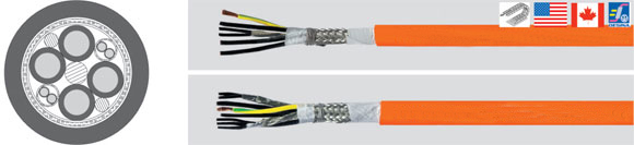 TOPSERV 155/156, Highly Flexible, two approvals drag chain servo cable, PUR jacket, low capacitance, 0,6/1 kV, Halogen-Free, Hi-Tech Controls, European