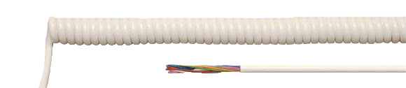 PVC Spiral Cables, white and black, RoHS Approved, RoHS Compliant, Hi-Tech Controls, European